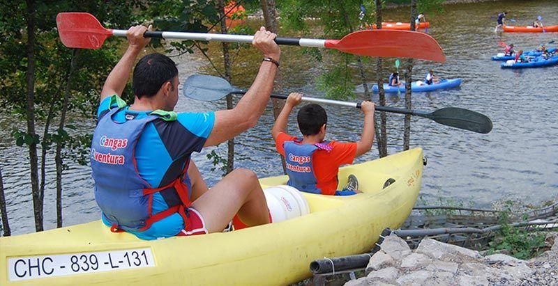 Descenso del sella en canoa con niños - Cangas Aventura